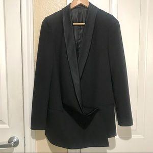 AllSaints black longline blazer with satin lapels